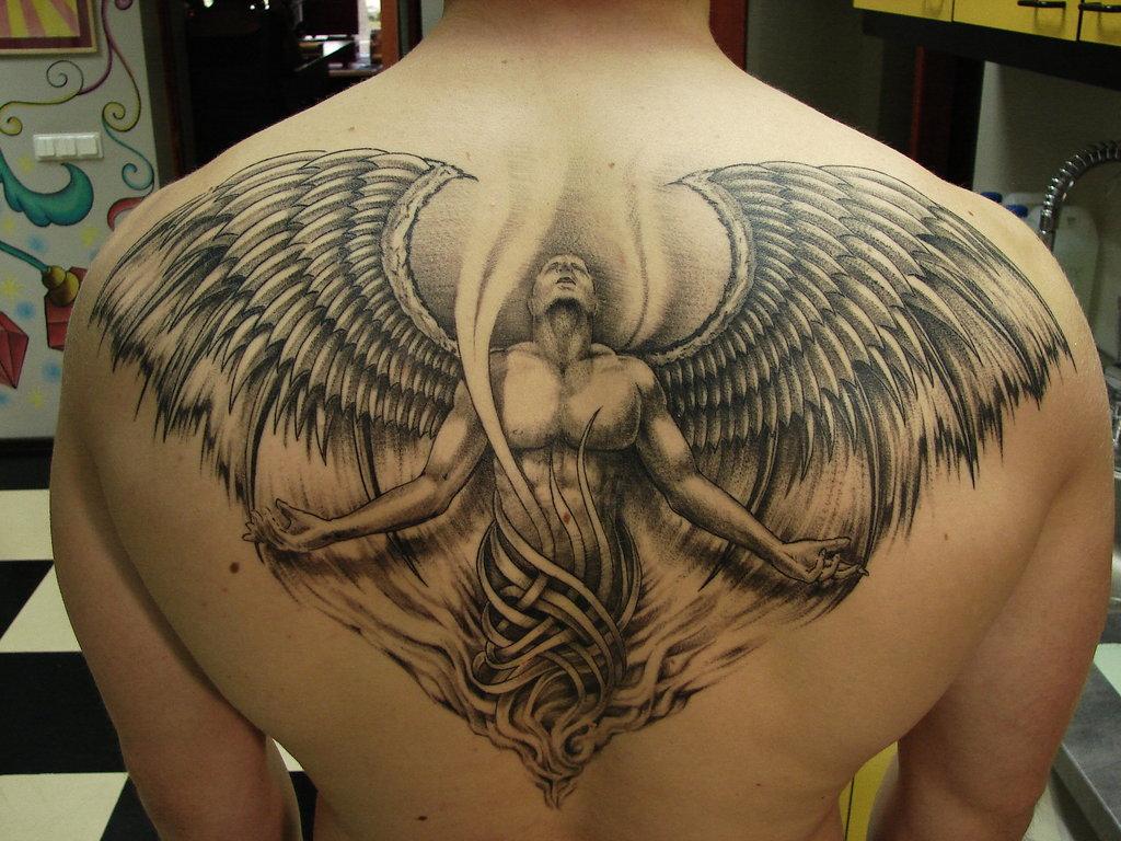 Grey ink angel back tattoo for Grey tattoo ink