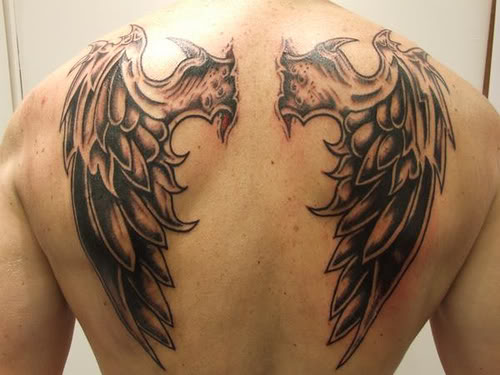 Grey ink back angel wings tattoo for Angel wing tattoos on back