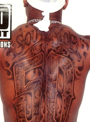 50 Cent Tattoos grey ink south side 50 cent tattoo on back