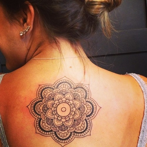 mandala tattoo on girl upperback. Black Bedroom Furniture Sets. Home Design Ideas