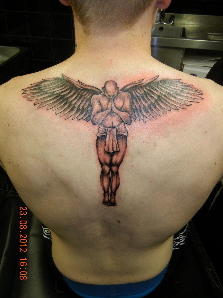 praying guardian angel back tattoo. Black Bedroom Furniture Sets. Home Design Ideas