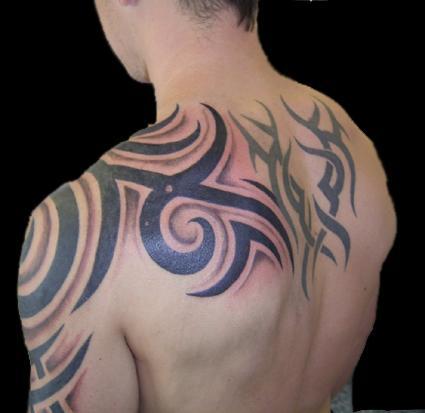 Tribal back body tattoo for men for Tribal body tattoo