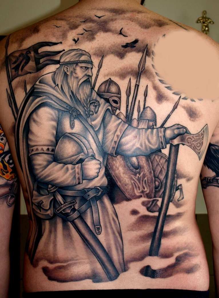viking back grey ink tattoo. Black Bedroom Furniture Sets. Home Design Ideas