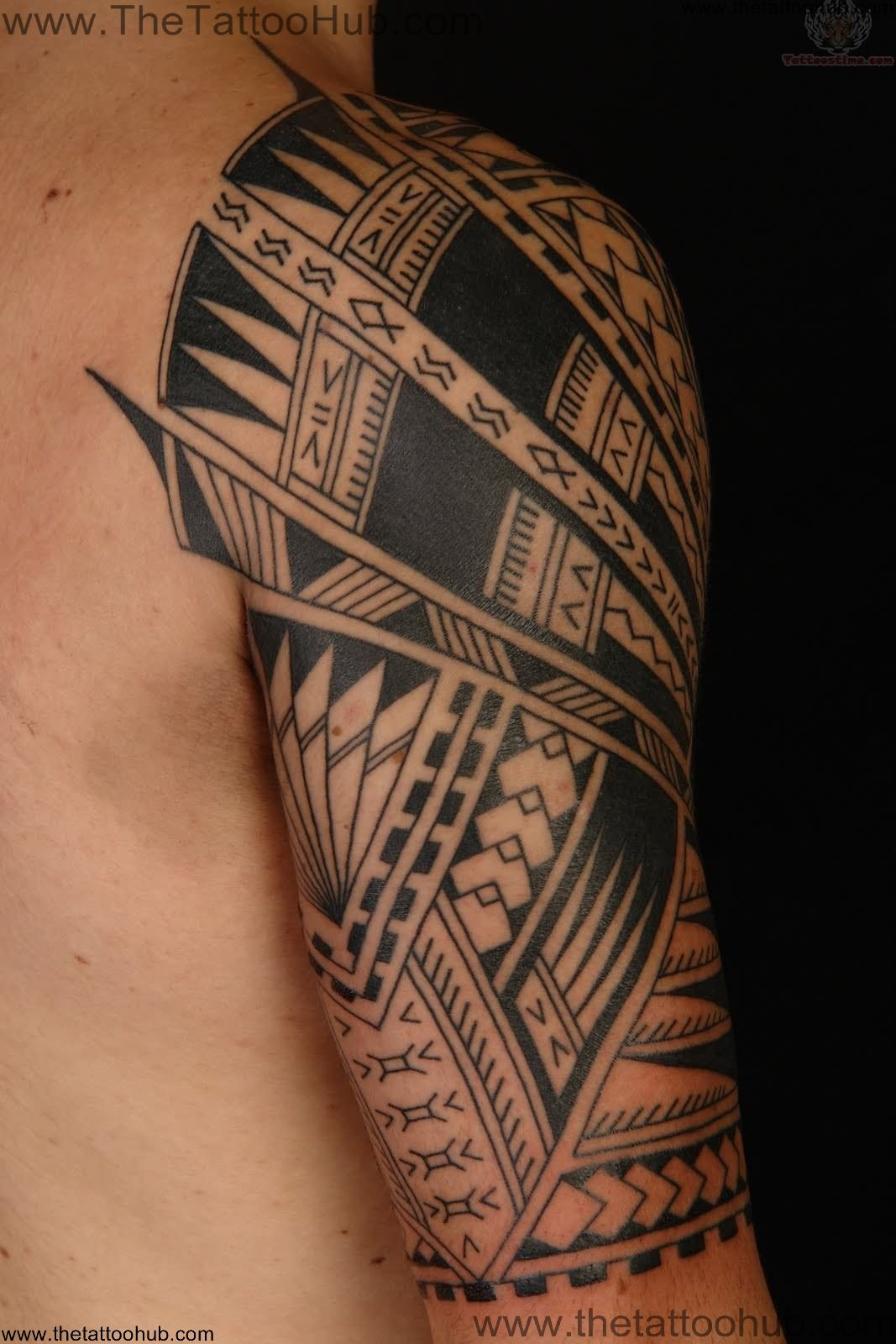 Attractive black ink polynesian tribal tattoo on half sleeve buycottarizona Choice Image