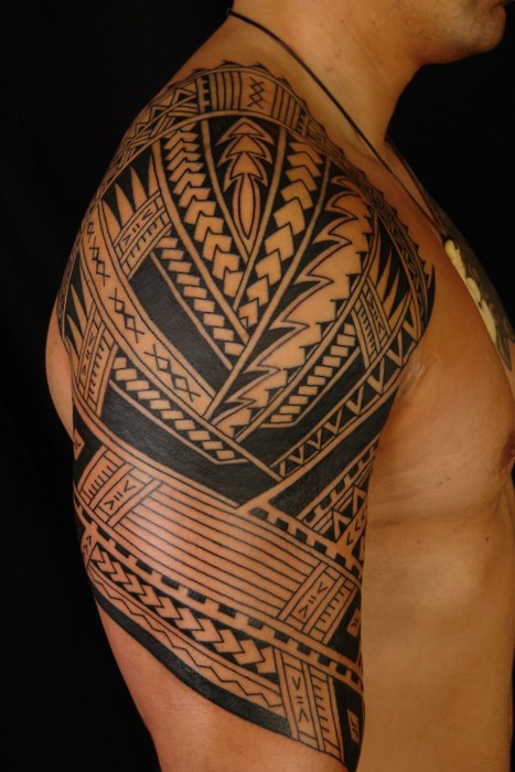 man tribal tattoo Tattoo Attractive Right Man Tribal On Sleeve Polynesian Half