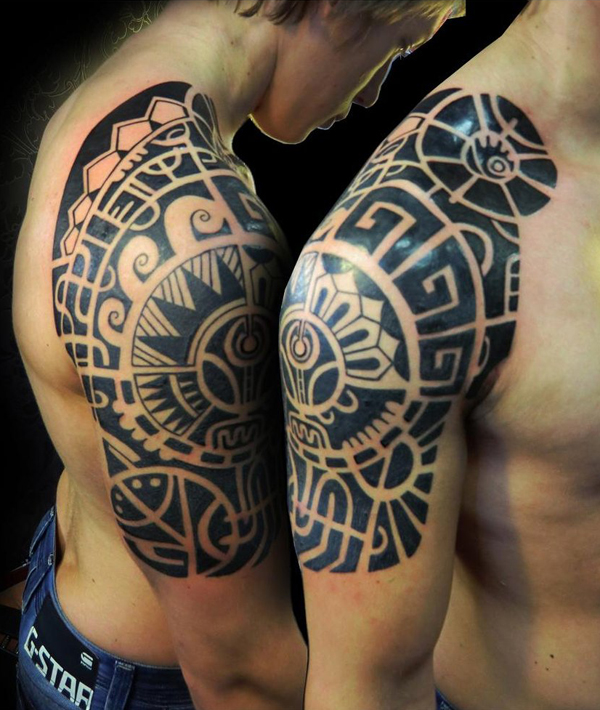 Black ink maori tribal tattoo on right half sleeve for Black tribal tattoo ink