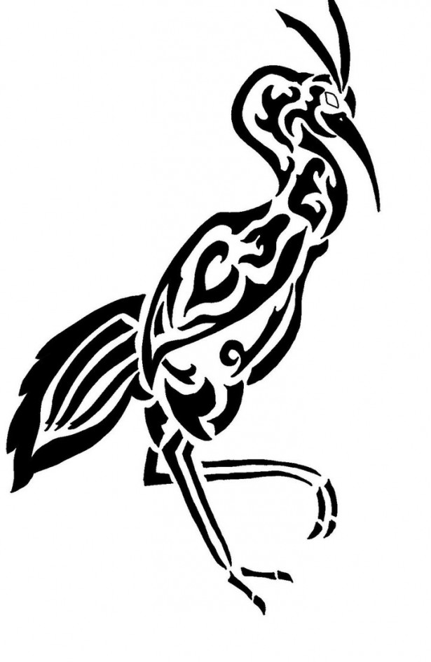 Black Ink Tribal Bird Tattoo Design