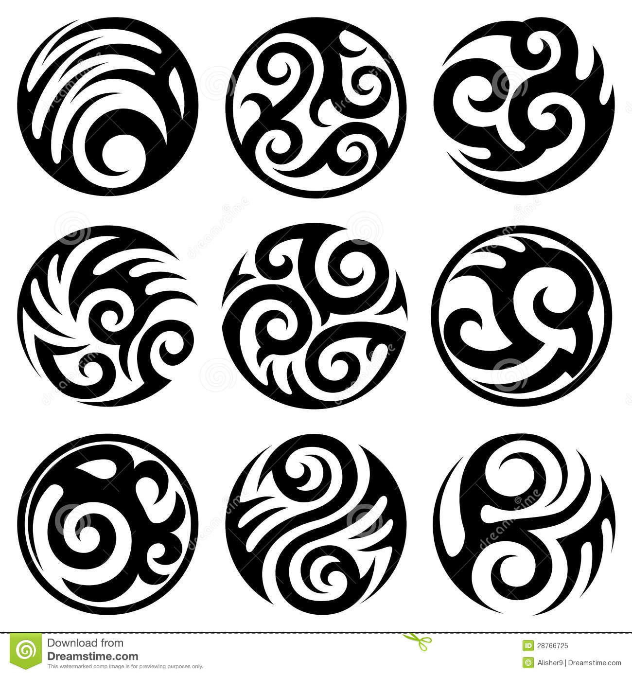 Black Ink Tribal Round Tattoos Designs