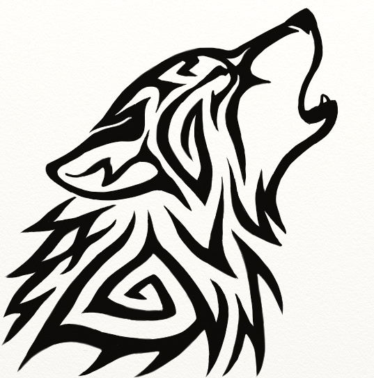 free tattoo templates tribal Black Wolf Tattoo Ink Design Tribal Head