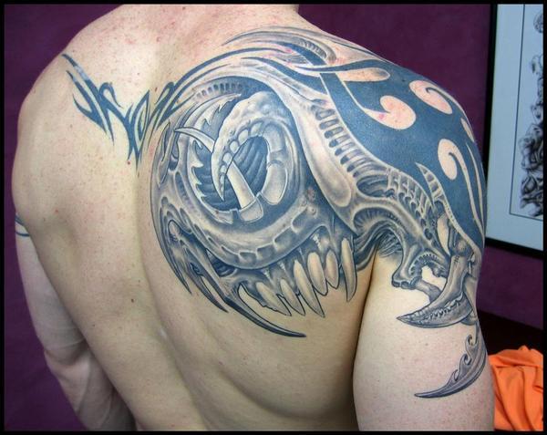 grey ink biomechanical tribal tattoo on right shoulder. Black Bedroom Furniture Sets. Home Design Ideas