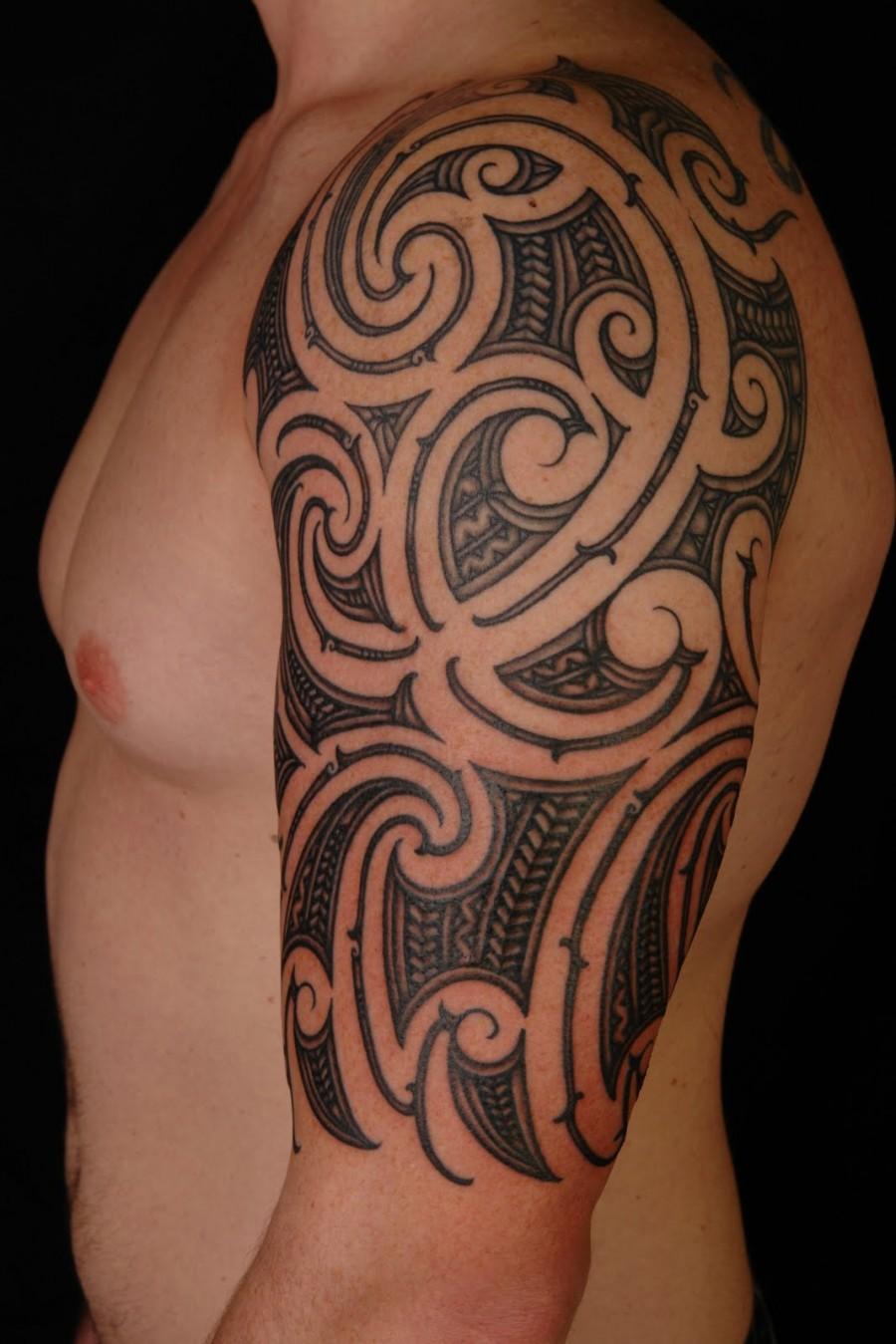 hawaiian tribal tattoo on left half sleeve. Black Bedroom Furniture Sets. Home Design Ideas