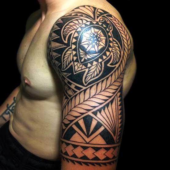 Maori tribal tattoo on left half sleeve for Tribal tattoo sleeves
