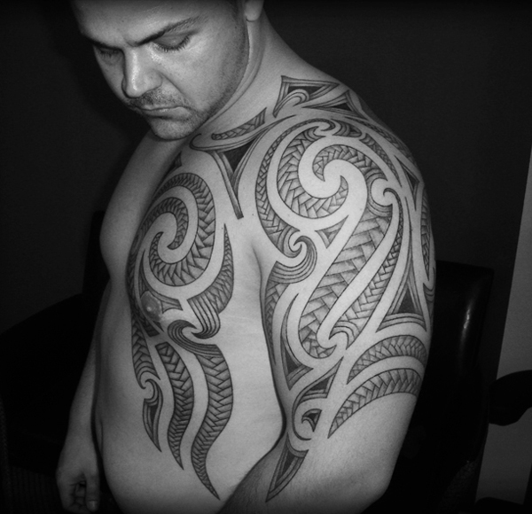 polynesian chest tribal tattoos And Man On Tattoo Shoulder Chest Left Tribal Polynesian
