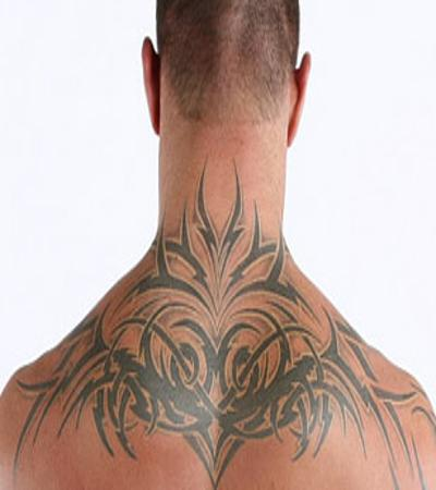 randy orton with tribal tattoo on upperback. Black Bedroom Furniture Sets. Home Design Ideas