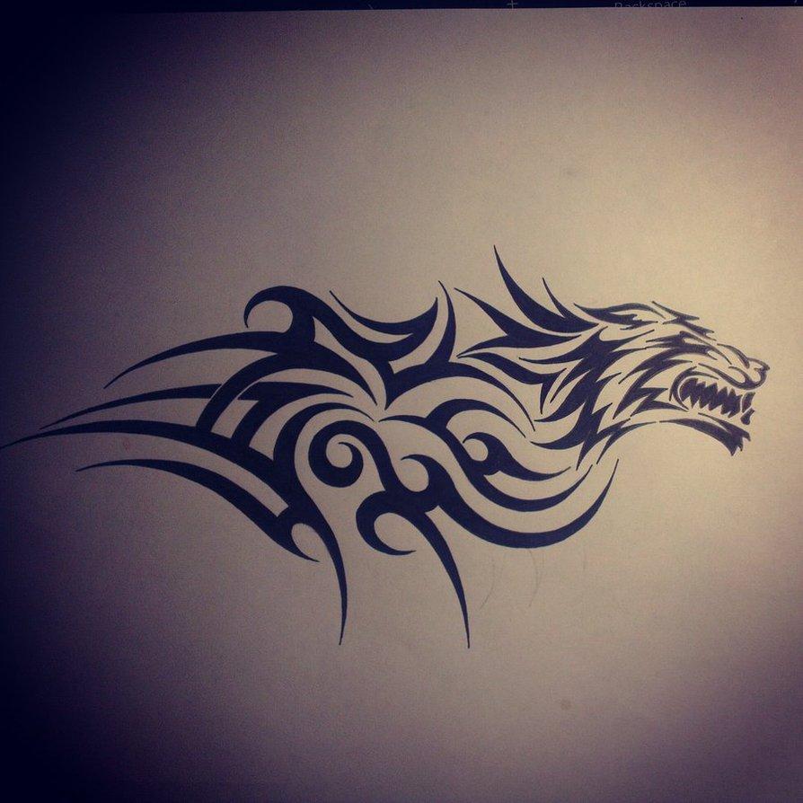 wolf tribal tattoo on shoulder. Black Bedroom Furniture Sets. Home Design Ideas