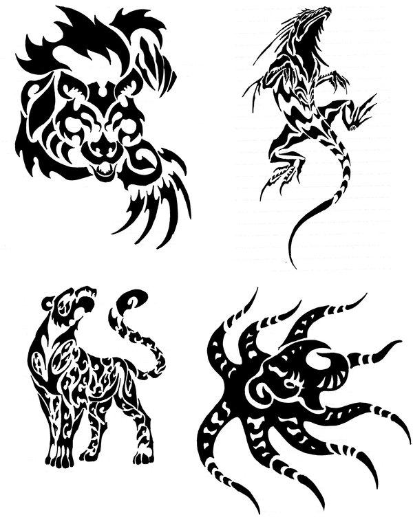 Tribal Animal And Octopus Tattoo Design