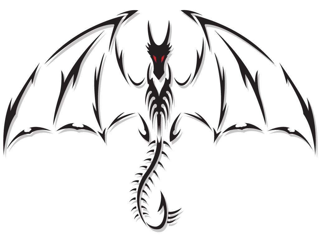 Tribal Black Ink Dragon Tattoo Design