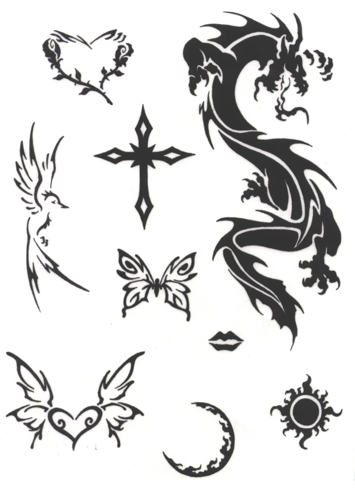 tribal dragon cross and butterfly tattoos designs. Black Bedroom Furniture Sets. Home Design Ideas