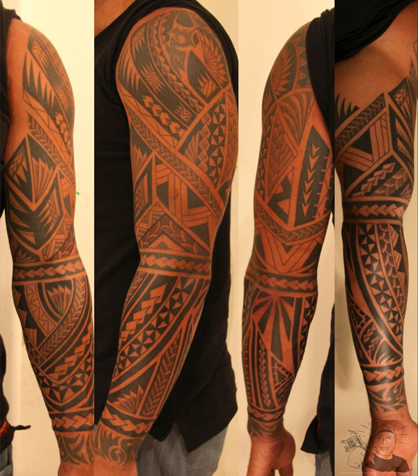 tribal maori tattoo on sleeve. Black Bedroom Furniture Sets. Home Design Ideas