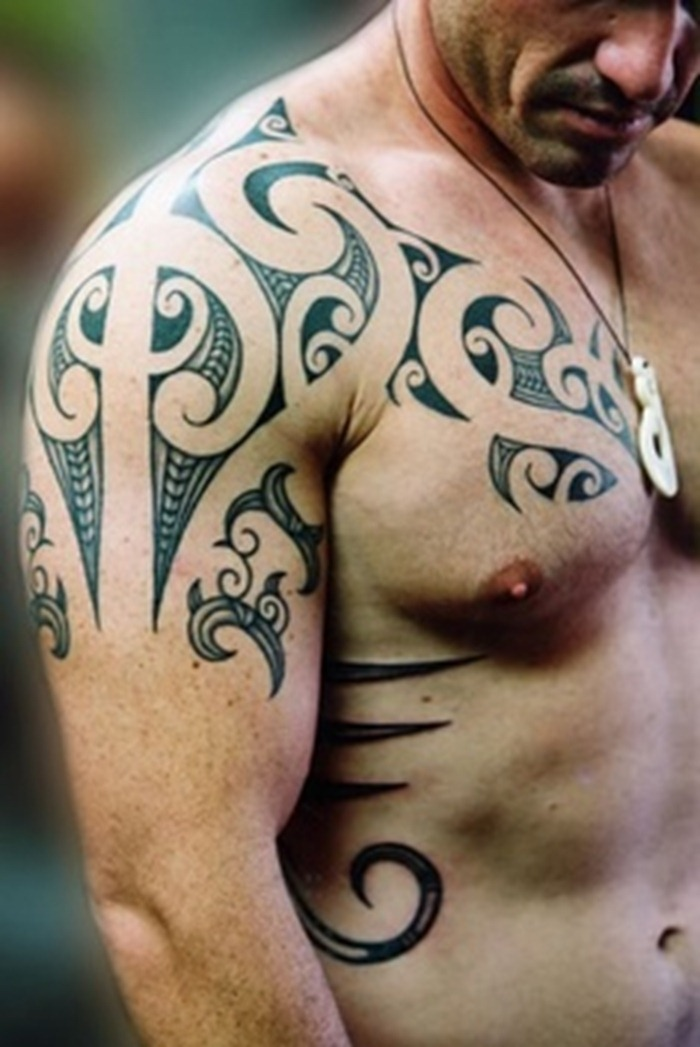 Tribal Shoulder and Chest Tattoo For Men