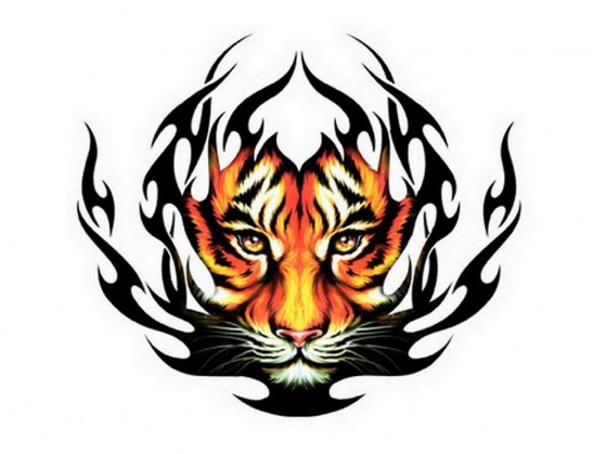 tribal tiger head color ink tattoo design. Black Bedroom Furniture Sets. Home Design Ideas