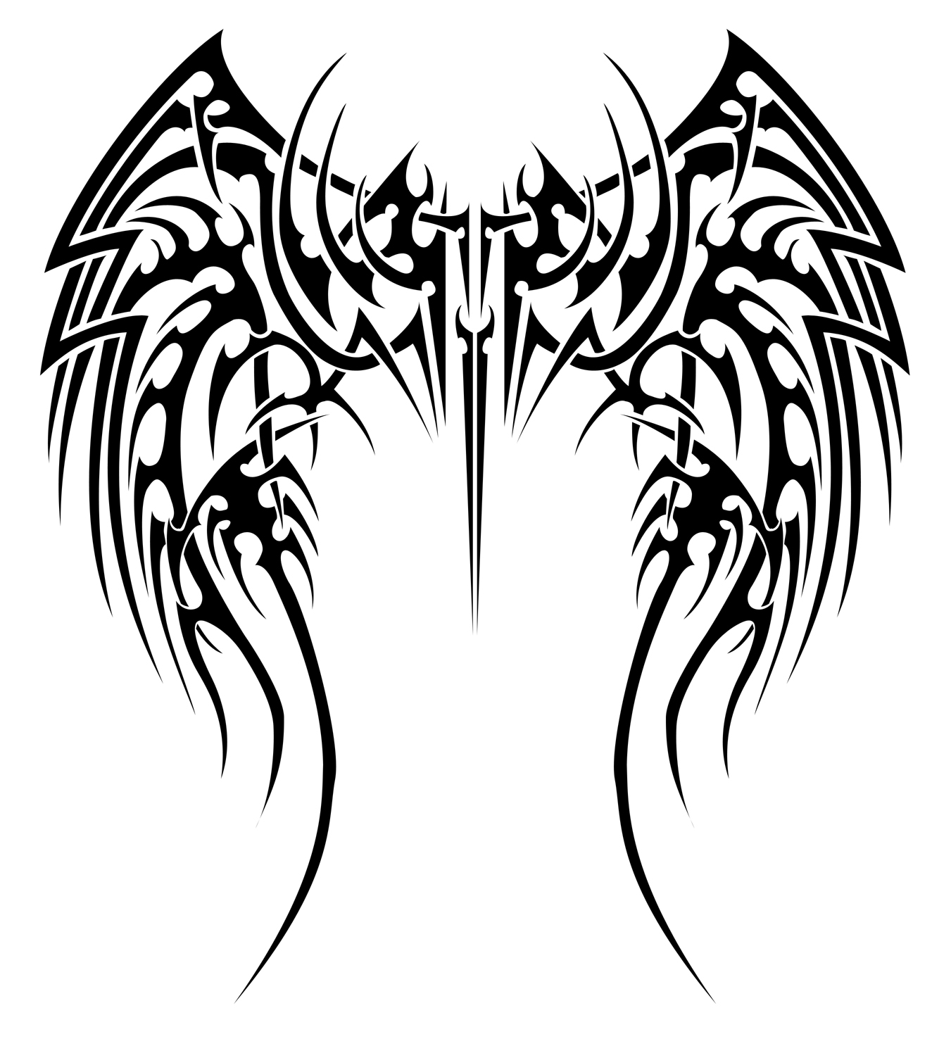Tribal Back Tattoo Wings