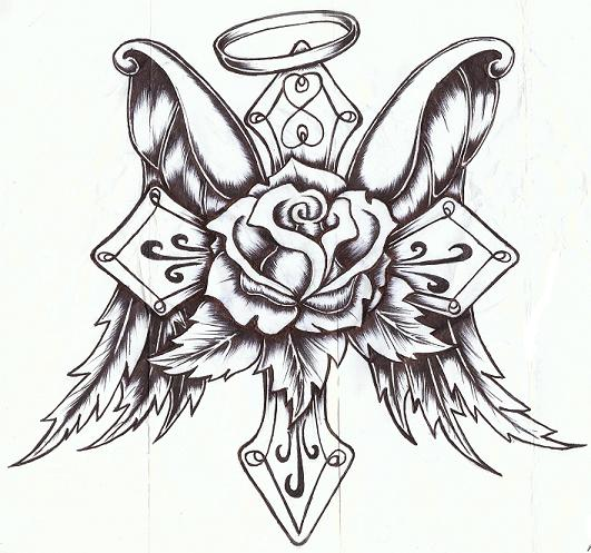 Angel Winged Cross And Rose Flower Tattoo Design