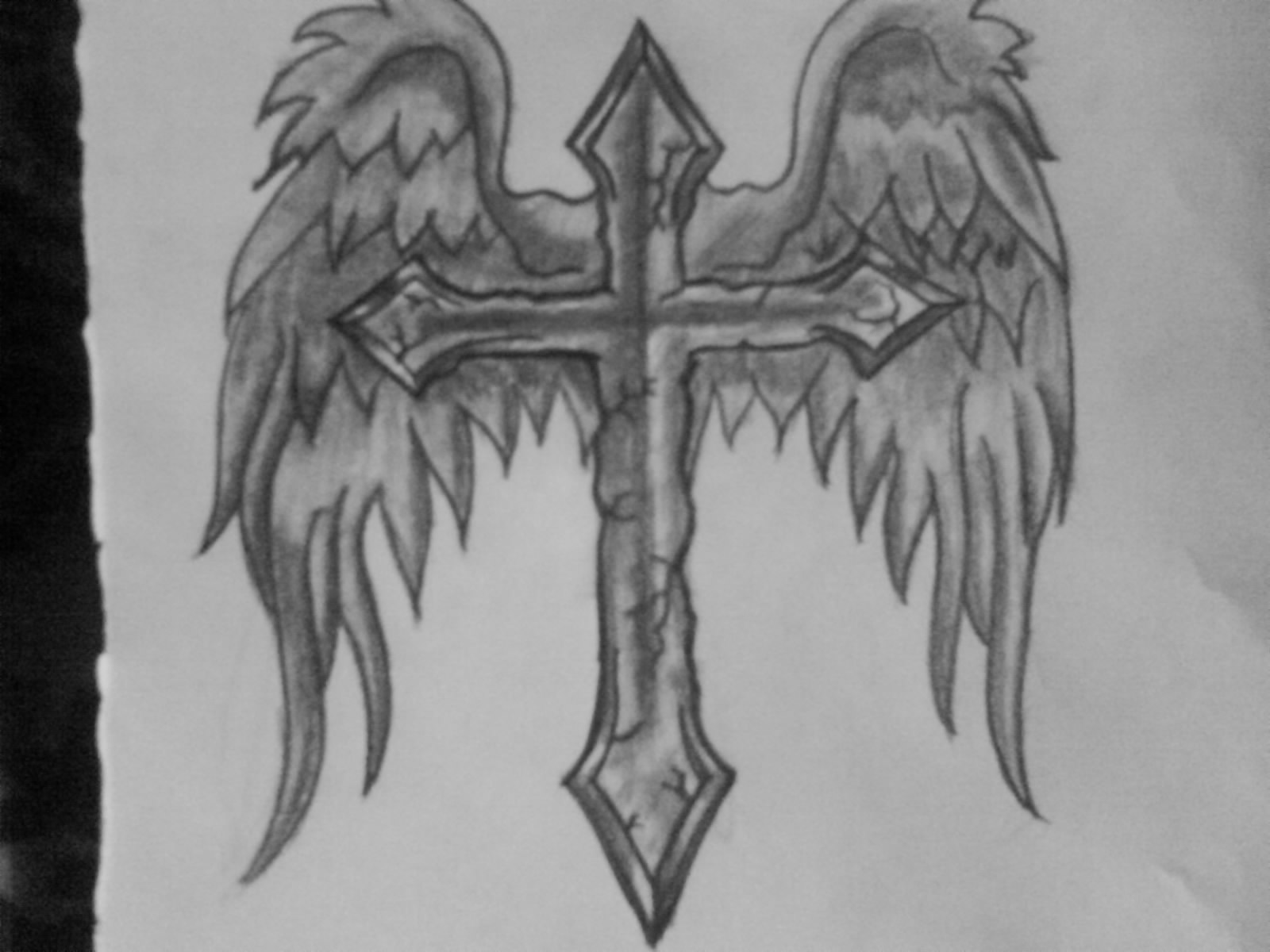 Angel Wings Cross Tattoo On Shoulder For Men