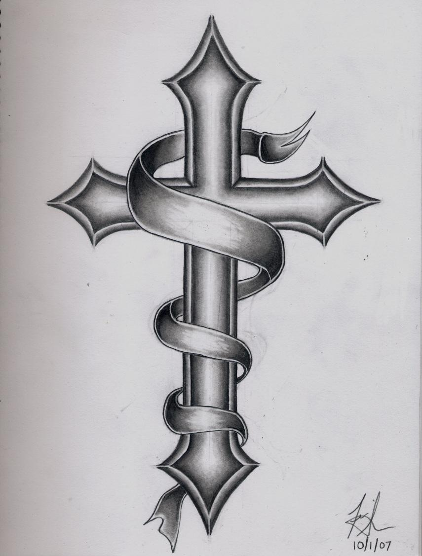 Cross With Banner And Wings Tattoo Images amp Designs