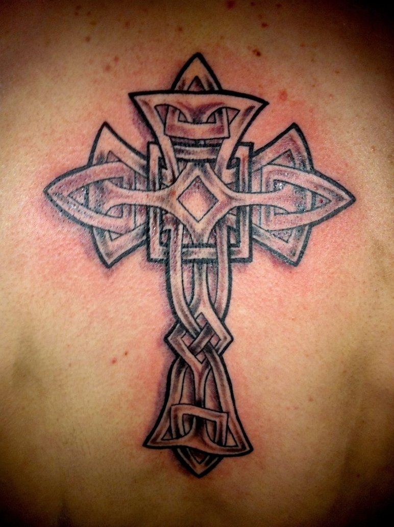 b4fb4a3dc Awesome Grey Ink Celtic Cross Tattoo On Back
