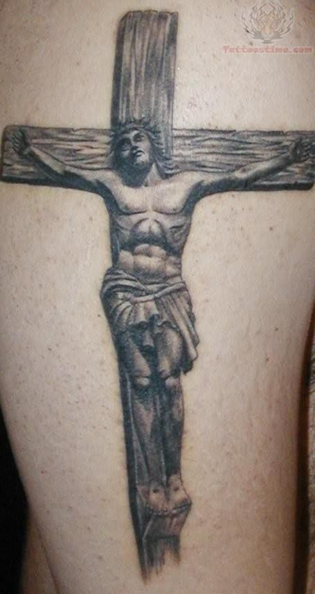 awesome grey ink jesus cross tattoo. Black Bedroom Furniture Sets. Home Design Ideas