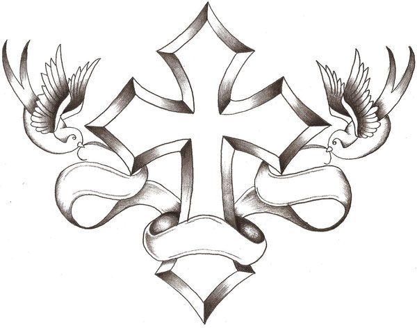 Cross And Flying Birds Tattoo Design