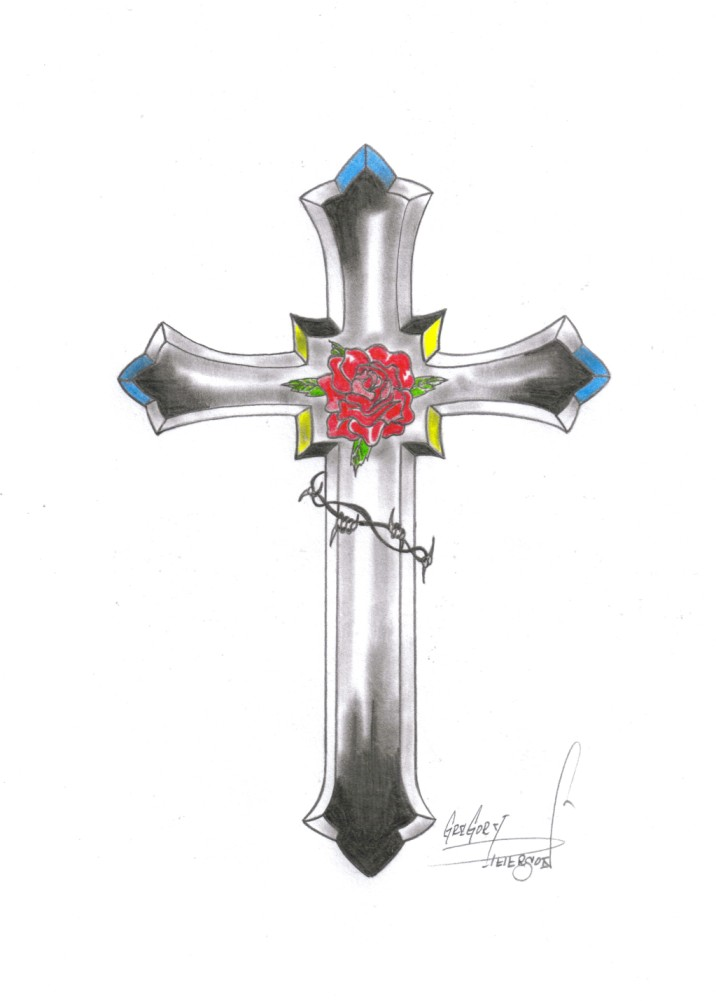 the gallery for gt wooden cross with rose tattoo