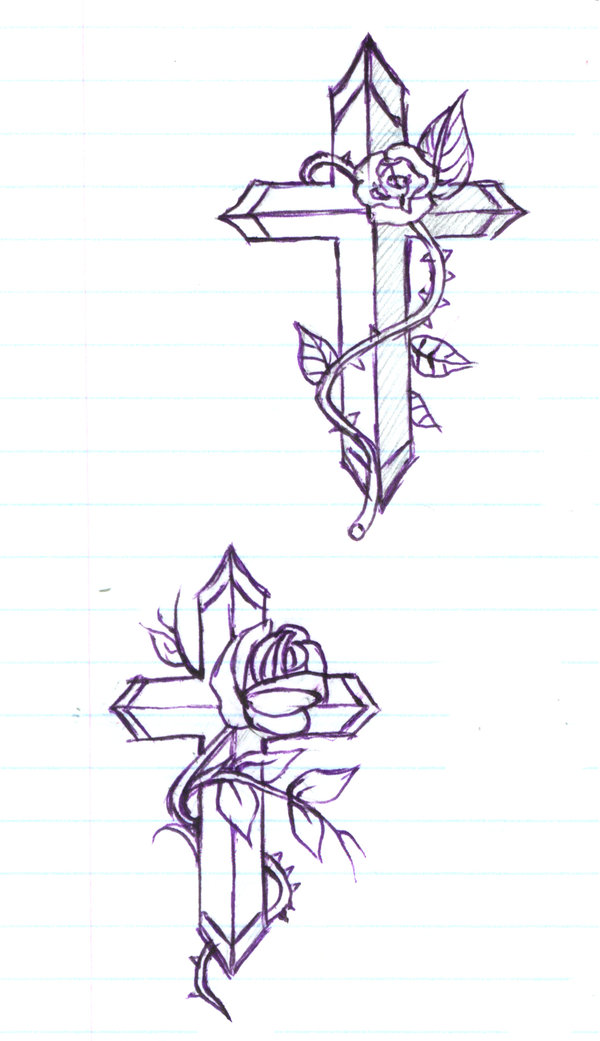 cross with rose flowers tattoo design