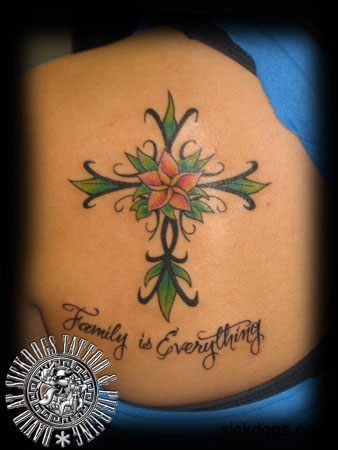 Flower cross tattoo on upperback for Cross and flower tattoos