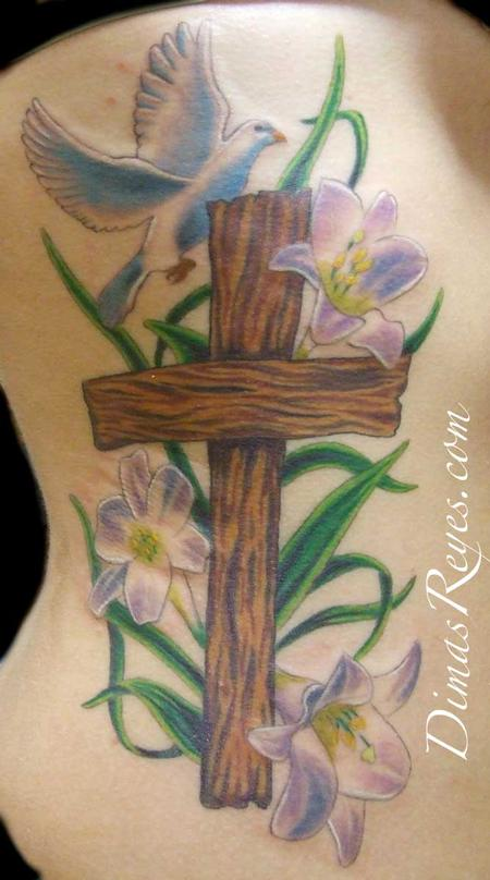 Flying dove and cross with flowers tattoo on side rib for Flower cross tattoo