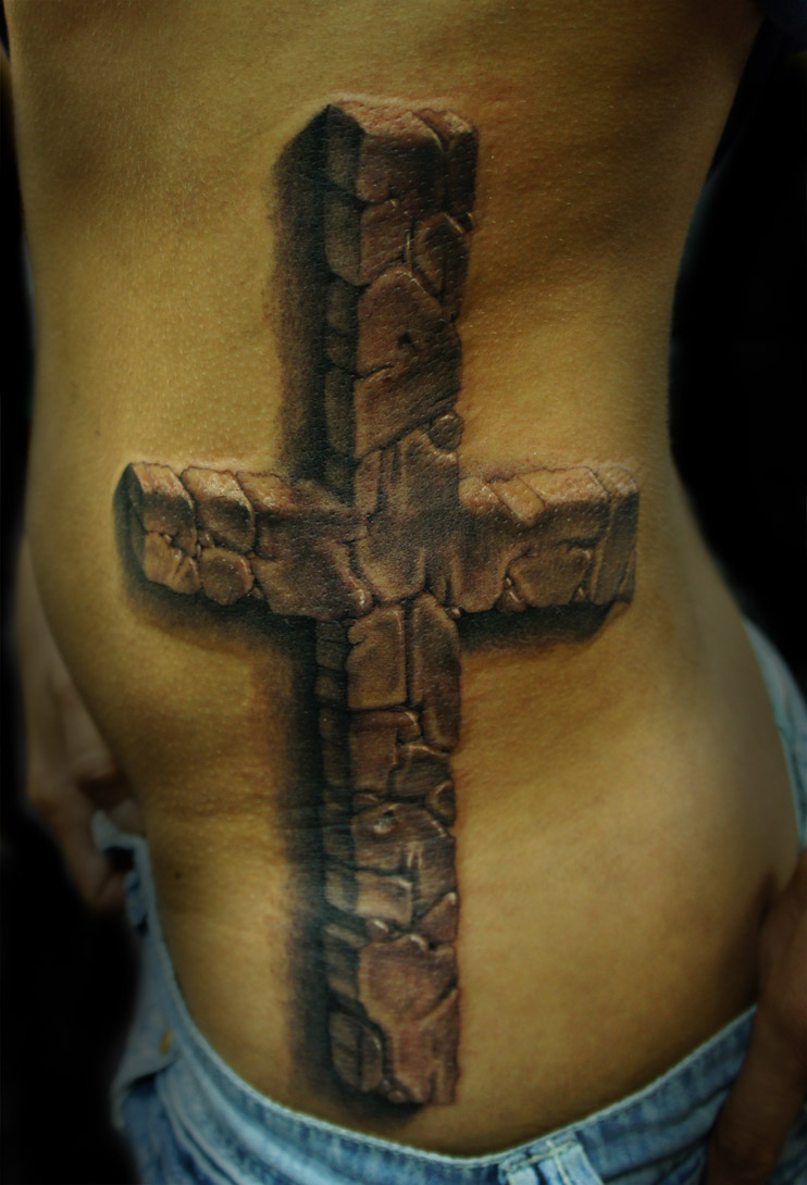 3d cross tattoo designs grey ink 3d cross tattoo on rib side. Black Bedroom Furniture Sets. Home Design Ideas