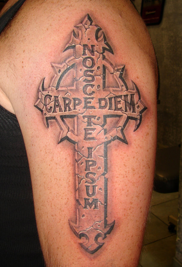 Grey Ink 3D Stone Cross Tattoo On Left Half Sleeve