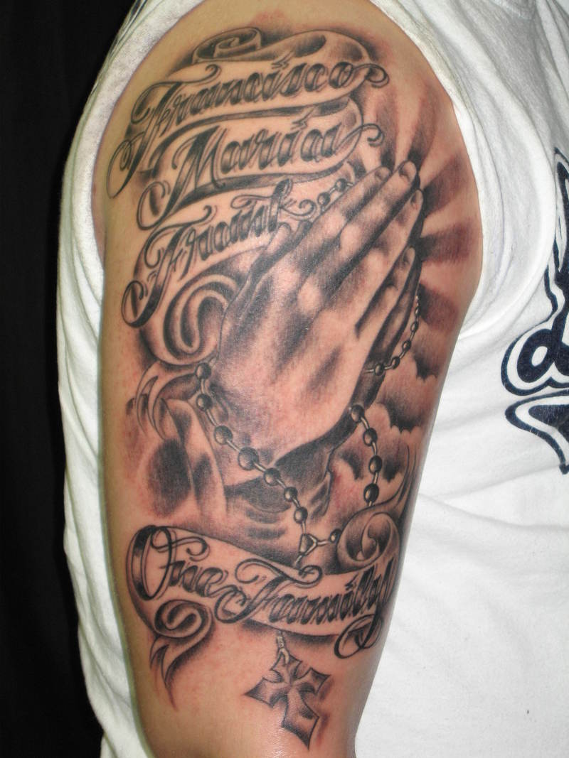 180fa1e1e14c9 Grey Ink Praying Hands Cross Rosary Tattoo On Right Half Sleeve