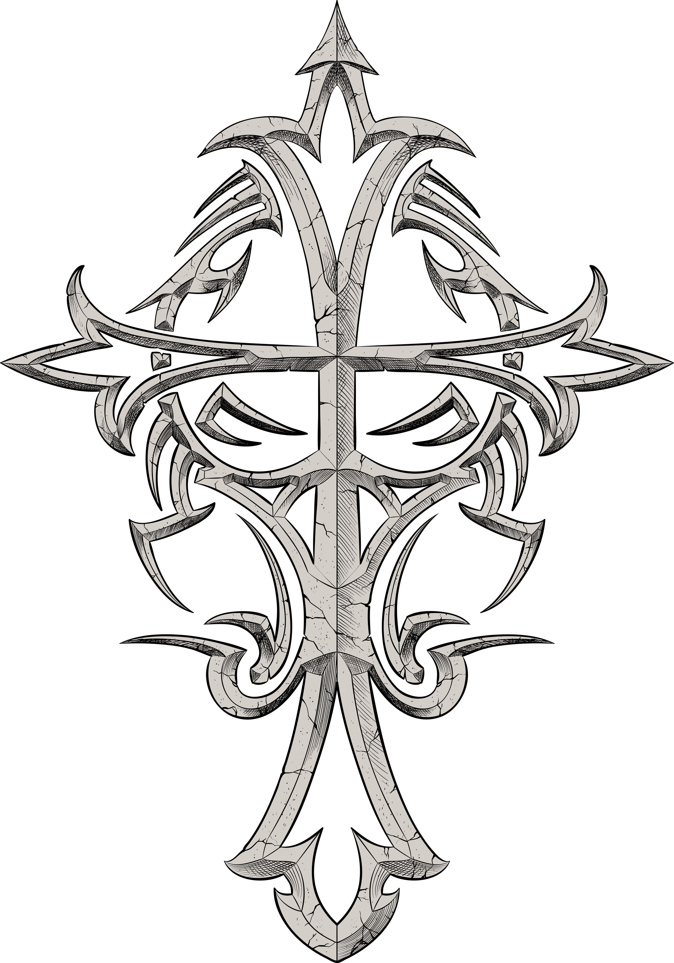 Pictures Of Tribal Cross Tattoos: Grey Ink Tribal Cross Tattoo Design