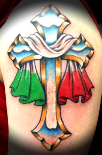 italian cross color ink tattoo on left shoulder. Black Bedroom Furniture Sets. Home Design Ideas