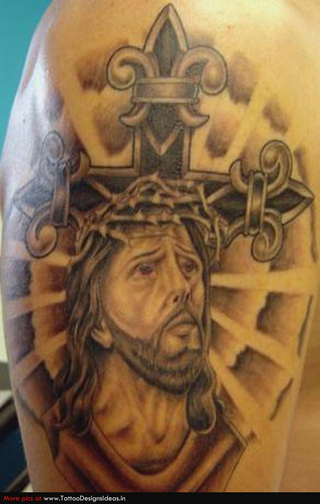 Jesus head and cross tattoo on right shoulder for Tattoos of crosses with jesus