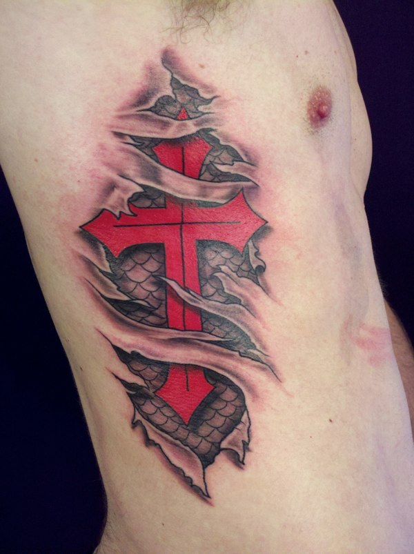 Ripped skin red cross 3d tattoo for men