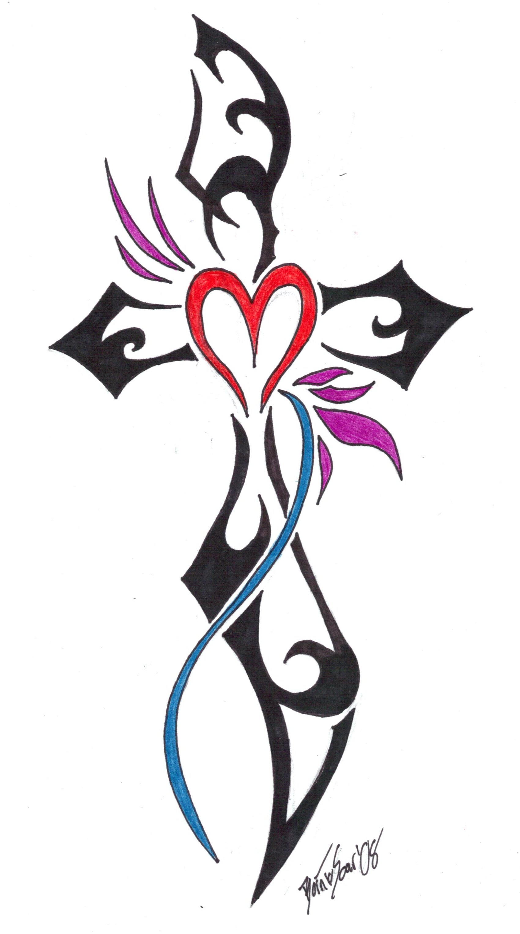 Tiny Heart And Cross Tattoo Design