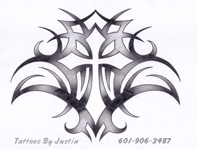 tribal cross tattoo design for men. Black Bedroom Furniture Sets. Home Design Ideas