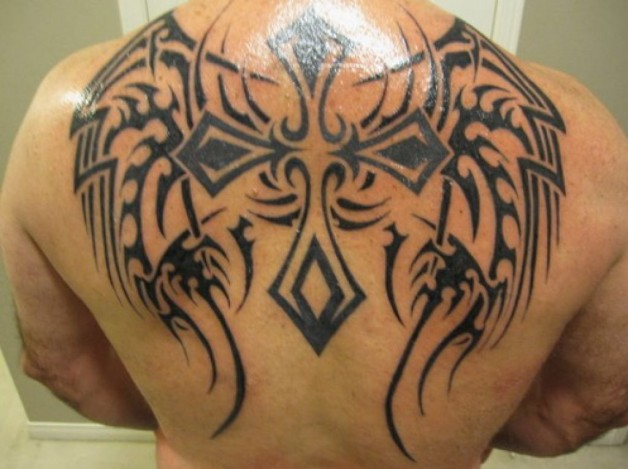 Tribal wings cross tattoo on back for Back tribal tattoo