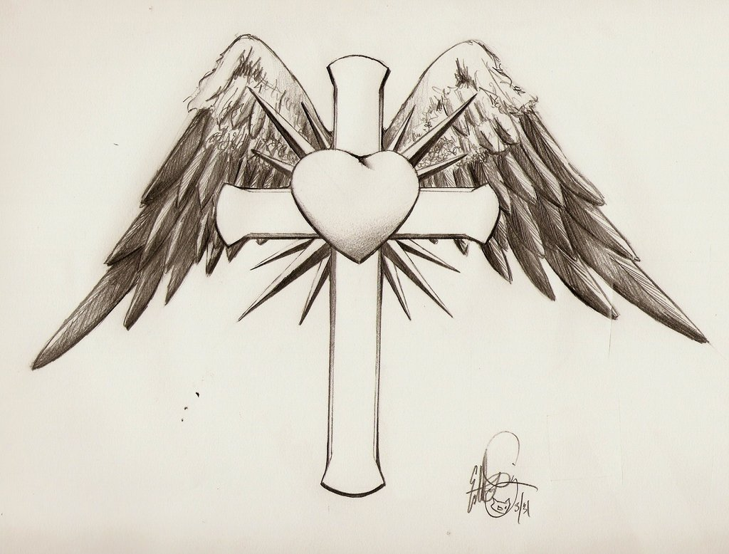 Feminine Cross With Heart Tattoos Viewing Gallery