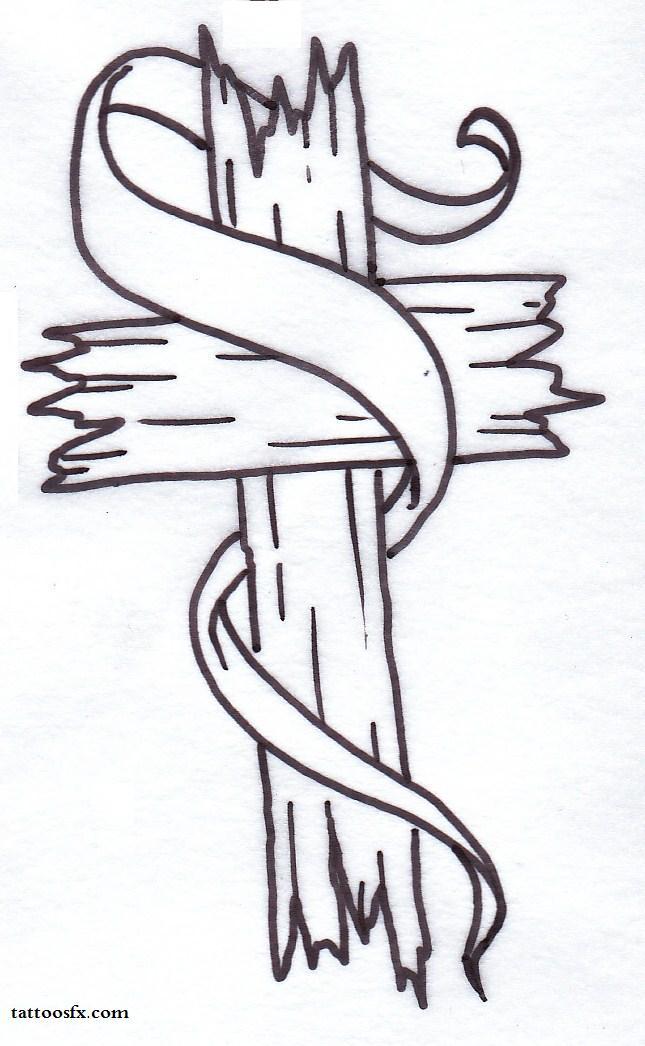 Wodden Cross With Banner Tattoo Design