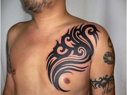 amazing black ink tribal chest tattoo for men. Black Bedroom Furniture Sets. Home Design Ideas