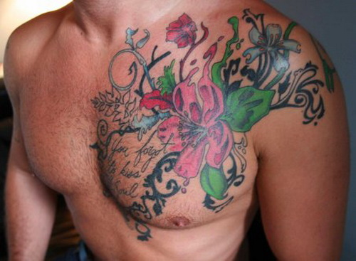 Colored flowers chest tattoo for men for Color chest tattoos